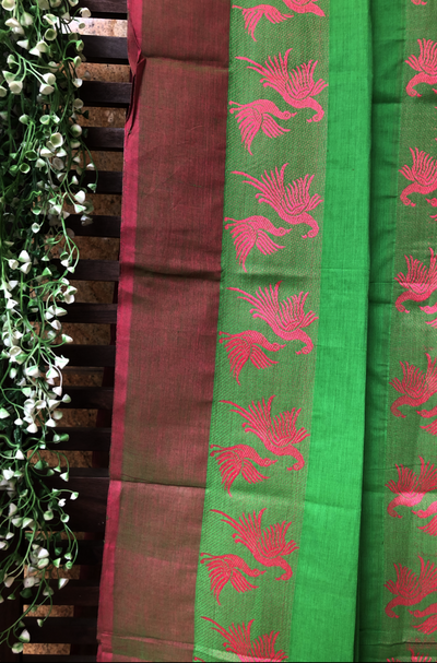 chettinad cotton saree - parrot green & flying birds
