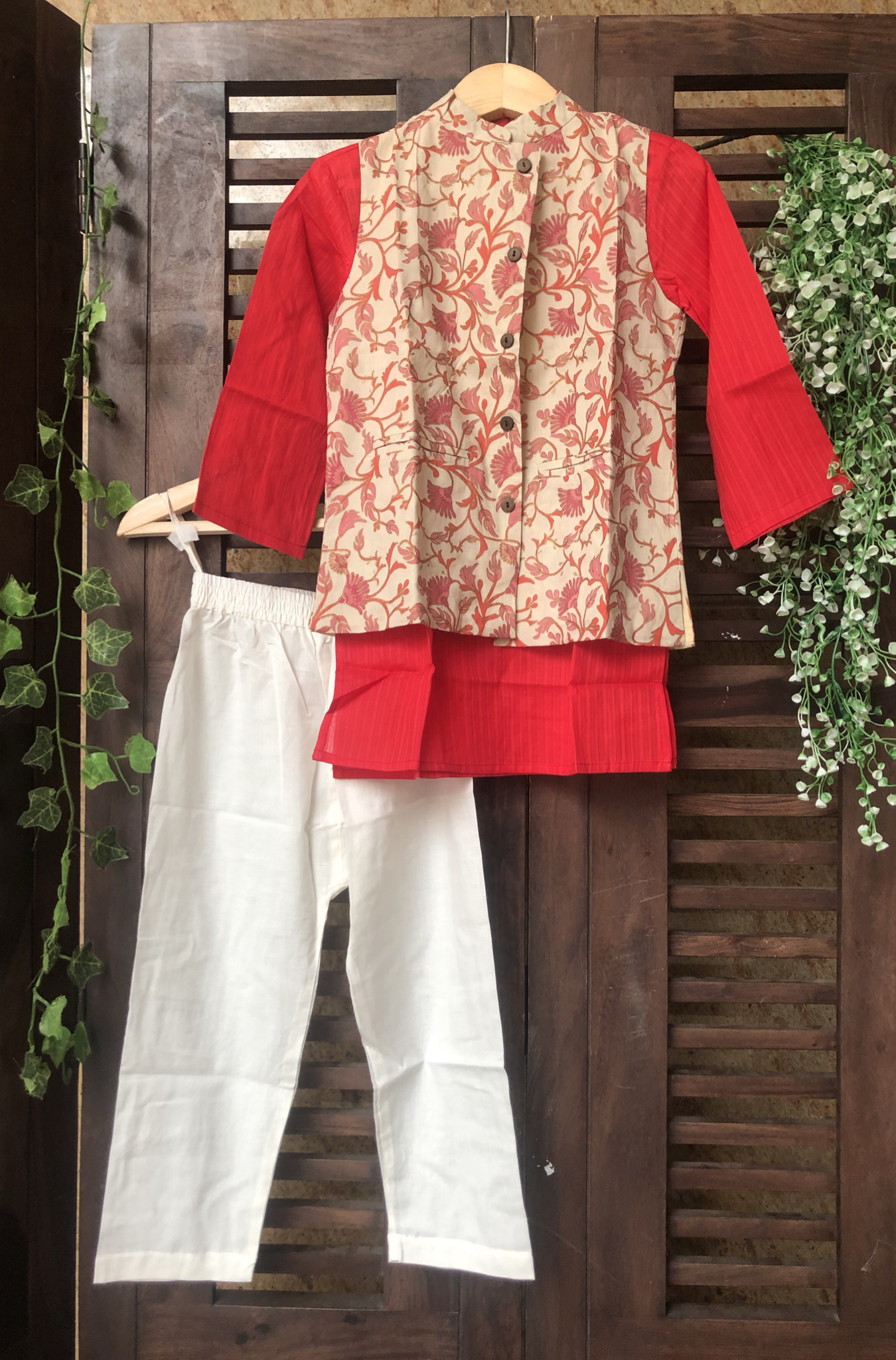 kidswear - red beige jacket with red kurta & pajama