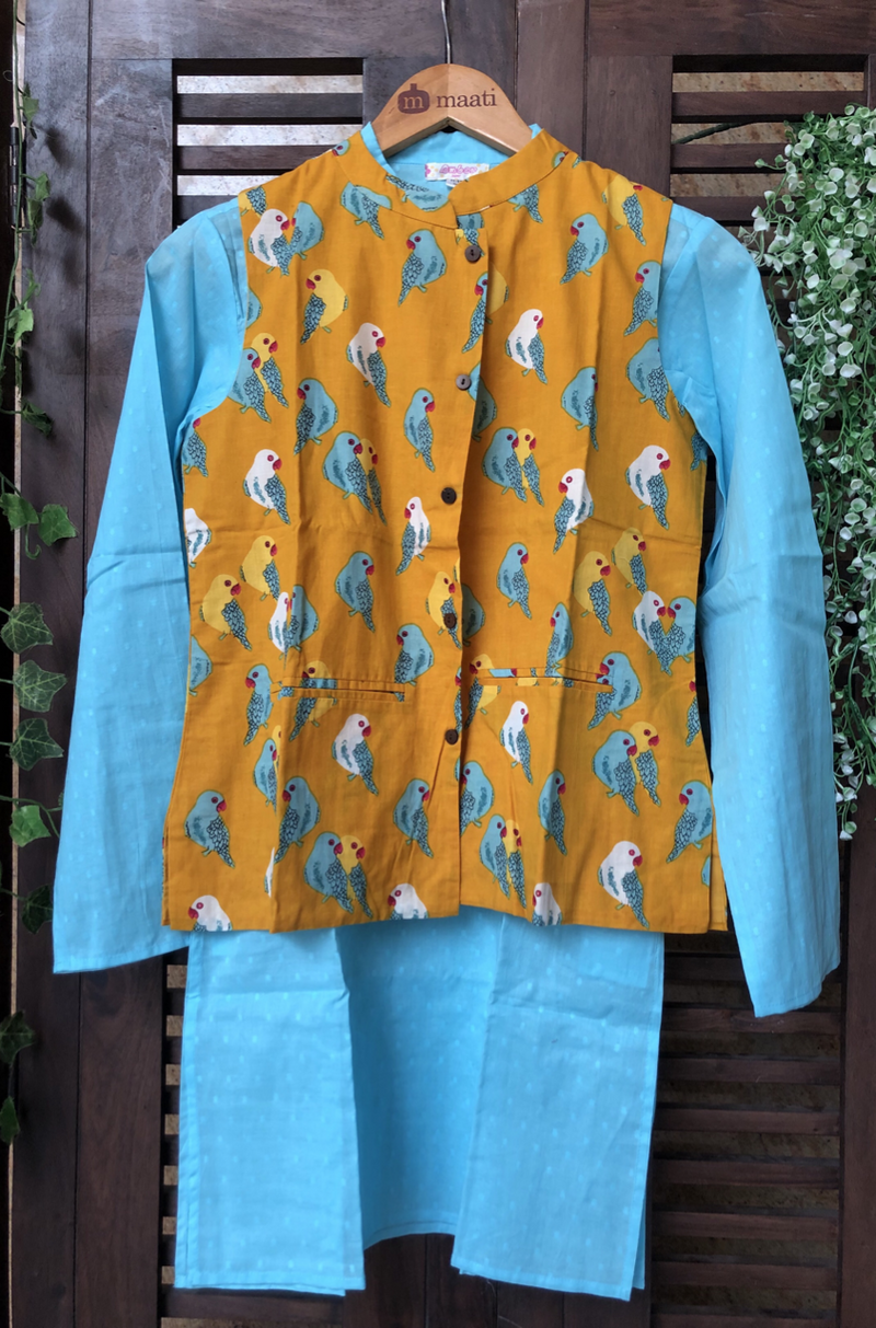 kidswear - yellow parrot jacket with sky blue kurta & pajama