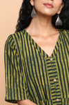 button down dress with patch pocket - green & stripes