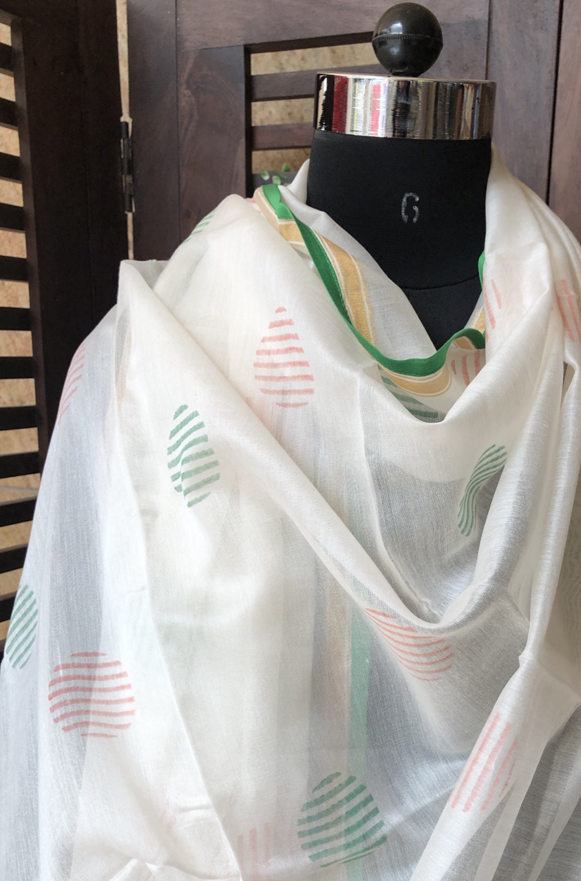 handwoven chanderi dupatta -  pink & green abstract dots