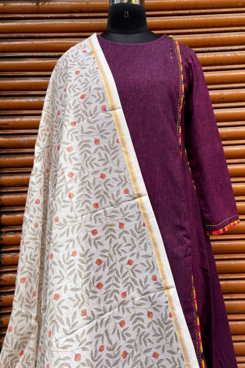handwoven chanderi dupatta  - dawn wonder & daisies