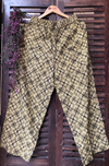 elasticated printed pants - green & geometric squares
