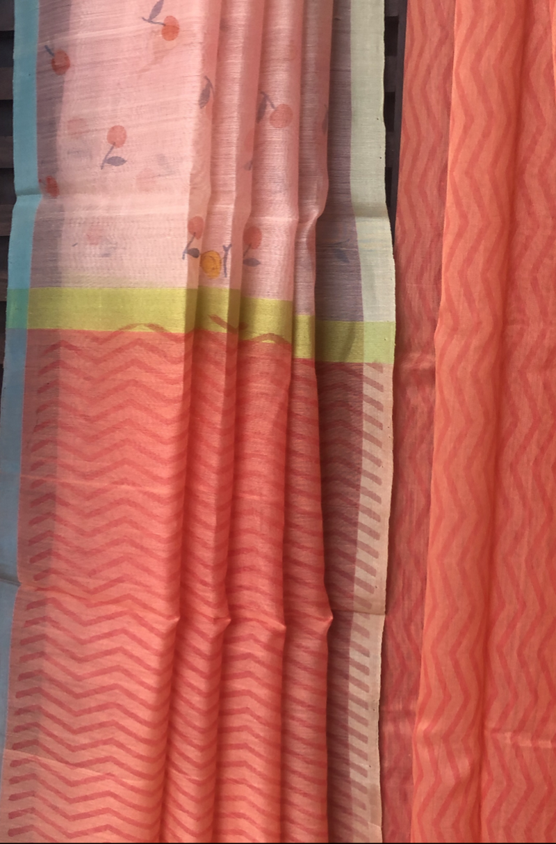 handwoven chanderi saree - shades of pink & mandarin drops