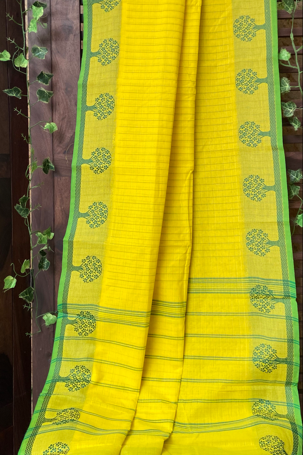 chettinad cotton saree - lemon yellow & green stripes