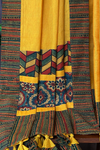 patchwork applique saree - marigold fields & uth pag