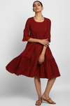midi dress with ruffled bottom - madder buttis & ruffle gathers