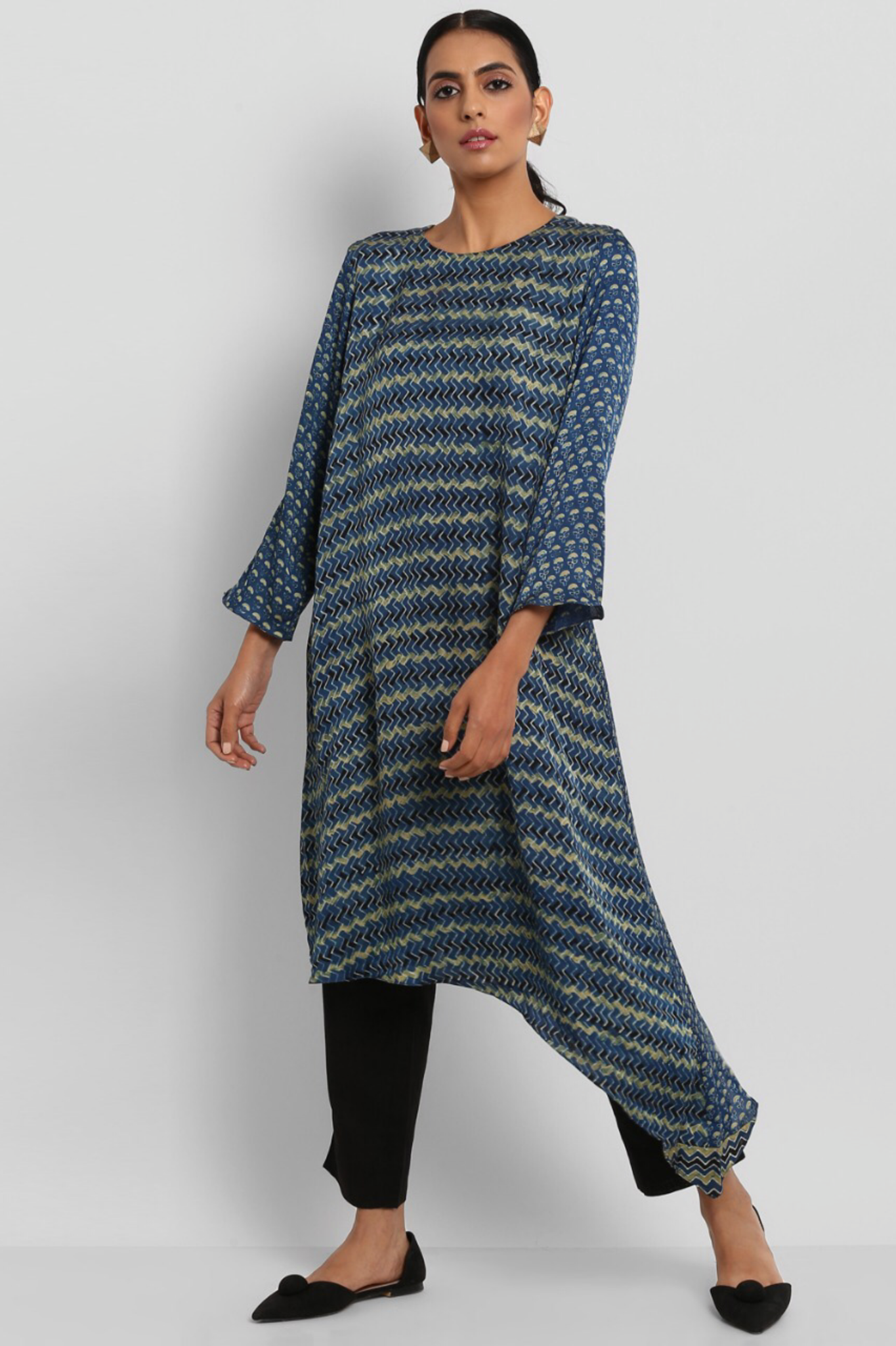 MODAL ASYMMETRICAL DRESS - INDIGO YELLOW & WAVES