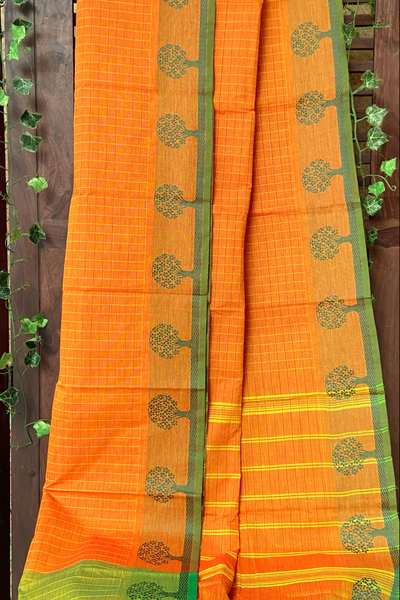 chettinad cotton saree - tangerine & trees