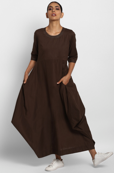cowl pocket dress - cocoa & gold dust