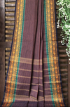 chettinad cotton saree - multi stripes & gold paisleys