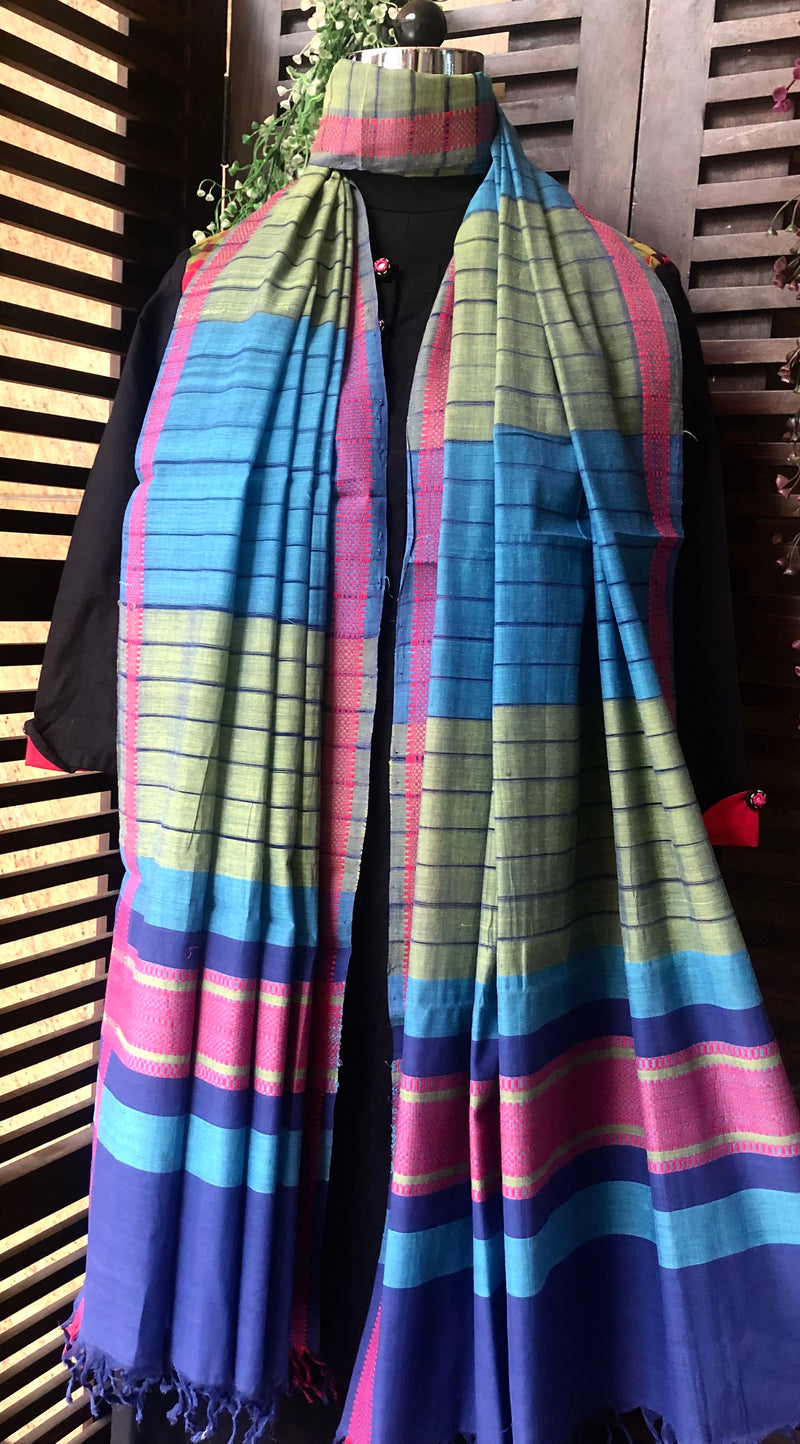 handloom cotton dupatta - olive stripes & nile