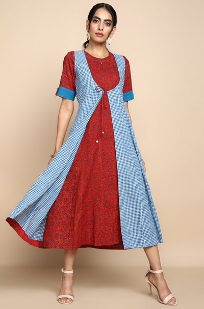 Mangalgiri blue white checks sleeveless jacket with red indigo ajrakh inner with short sleeves