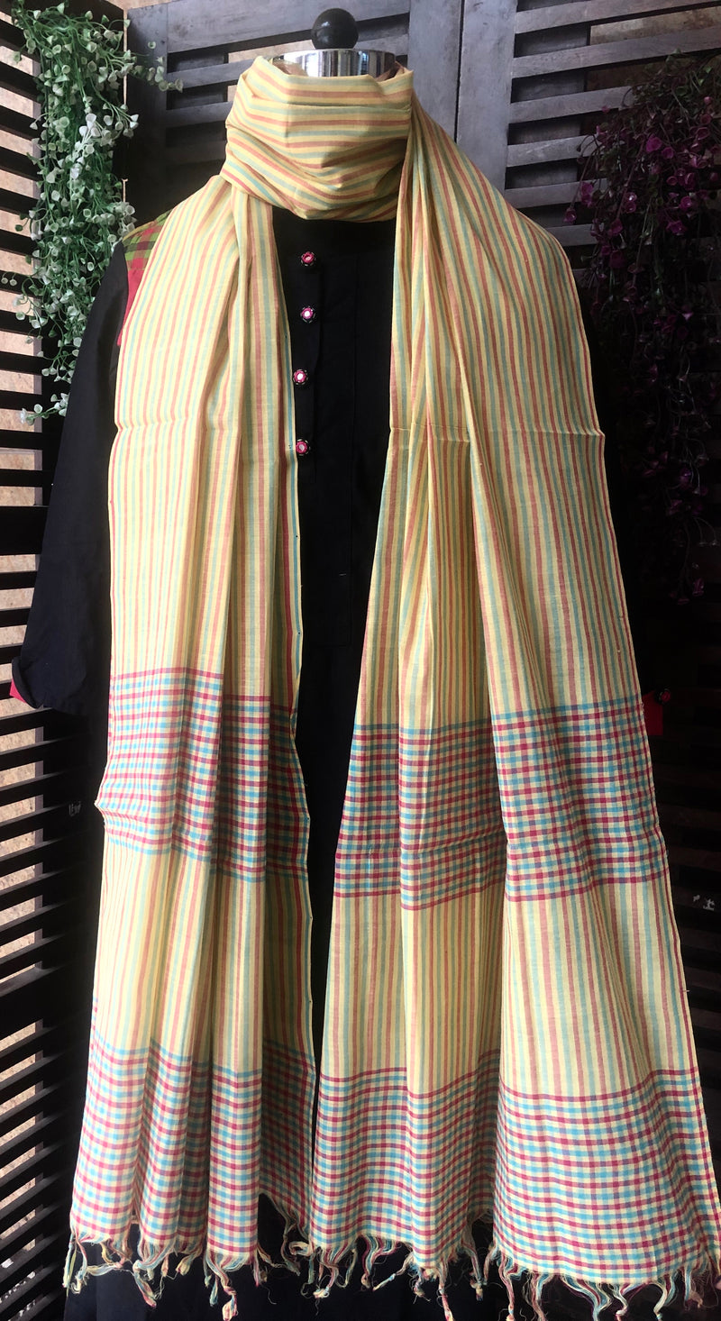 handloom cotton dupatta - pale lemon & multi stripes