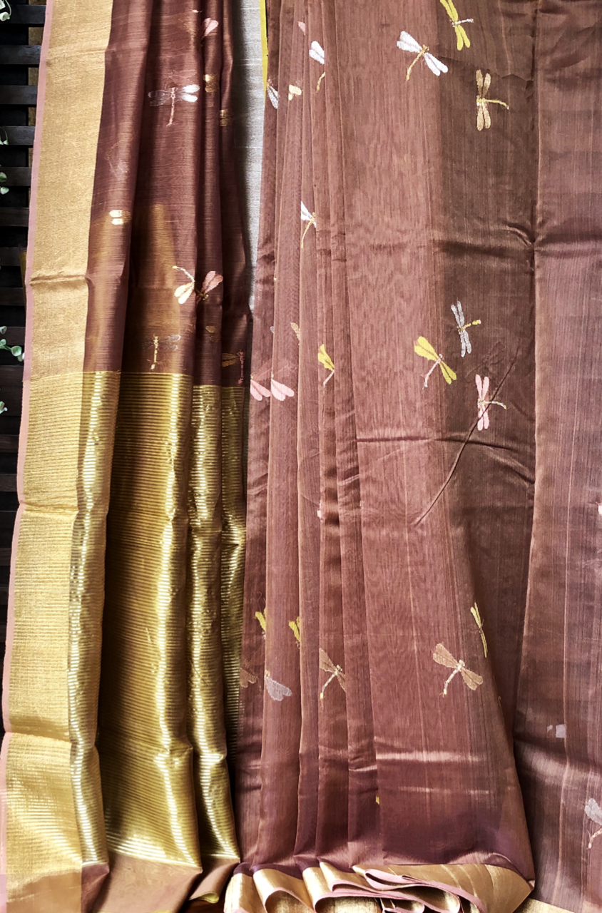 handwoven chanderi saree - dragonflies & copper dust
