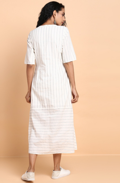 button down dress with patch pocket - porcelain & kohl lines