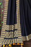 patchwork applique saree - sable sky & glorious stars