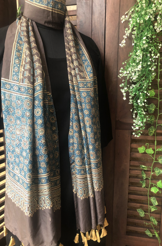 ajrakh silk stole - coffee & kamal butti