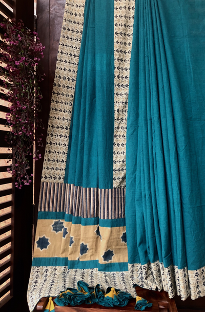 patchwork applique saree - sea green & rhubarb sprinkles