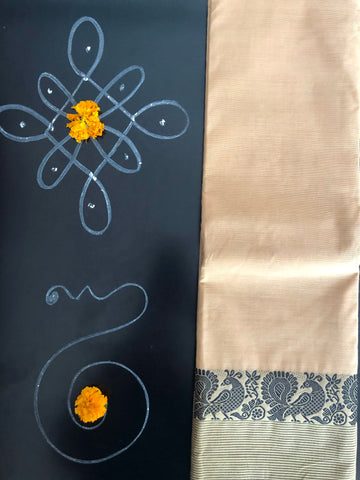 CHETTINAD COTTON SAREE - BEIGE & DANCING PEACOCKS