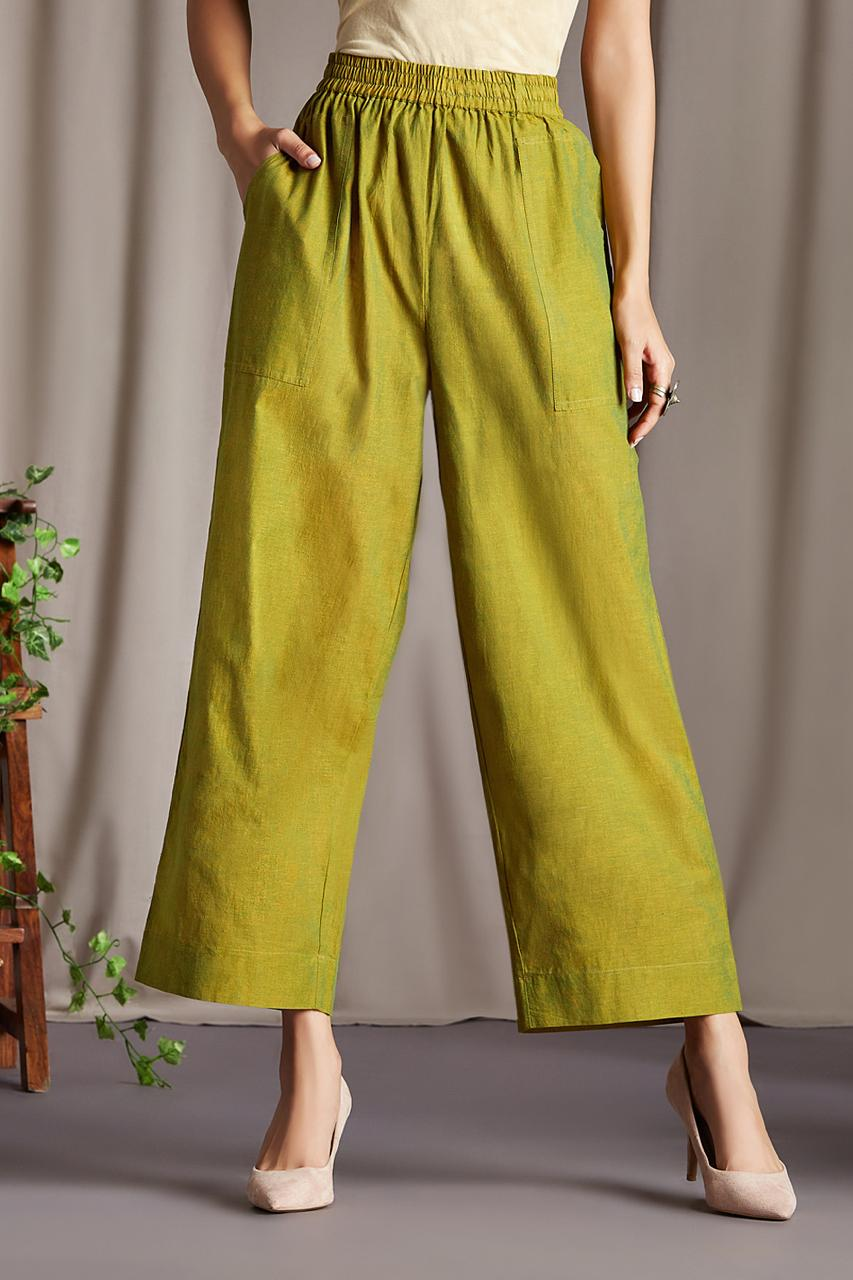 ELASTICATED MANGALGIRI PANTS -HENNA GREEN