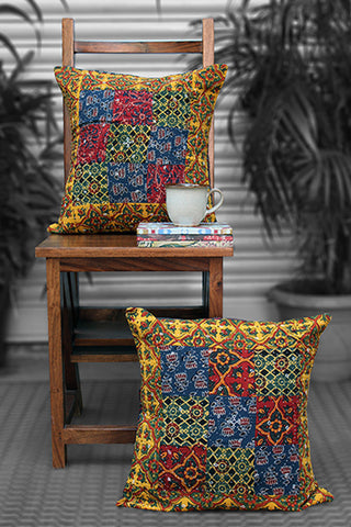 patchwork cushion cover - haldi yellow