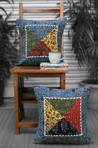 patchwork cushion cover - multicolour