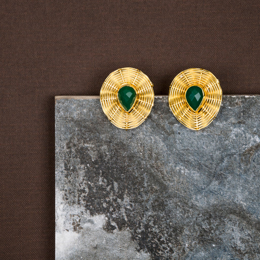 jewelry - berserk - Gold Plated Jade Teardrop Studs