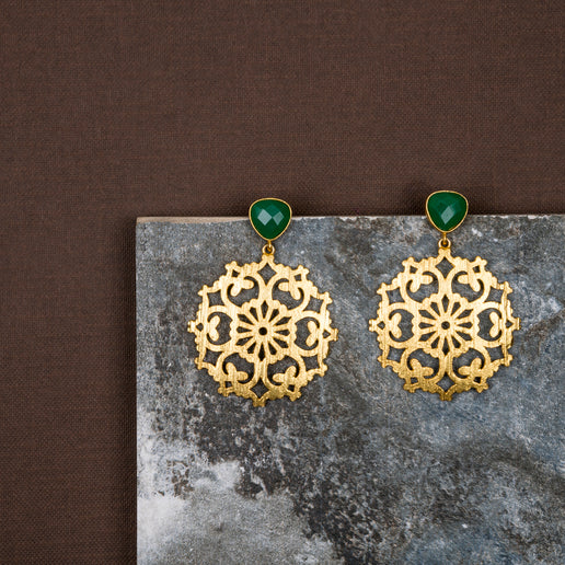 jewelry - berserk - Gold Plated Jade Carved Drop Danglers