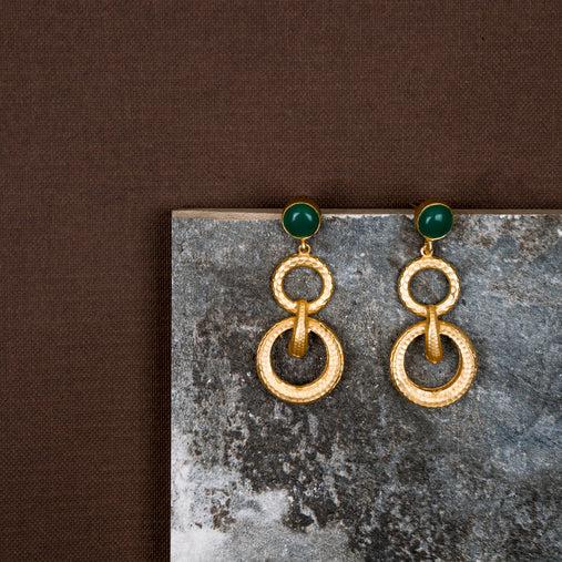 jewelry - berserk - Gold Plated Jade Double Loop Danglers