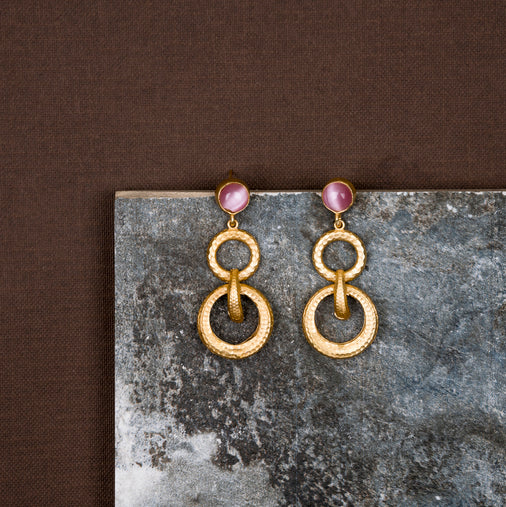 jewelry - berserk - Gold Plated Rose Quartz Double Loop Danglers