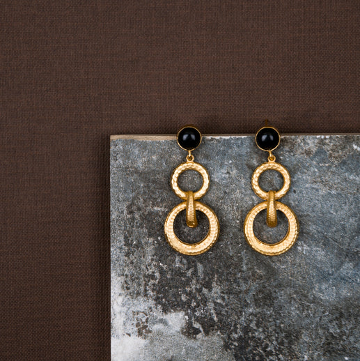 jewelry - berserk - Gold Plated Onyx Double Loop Danglers