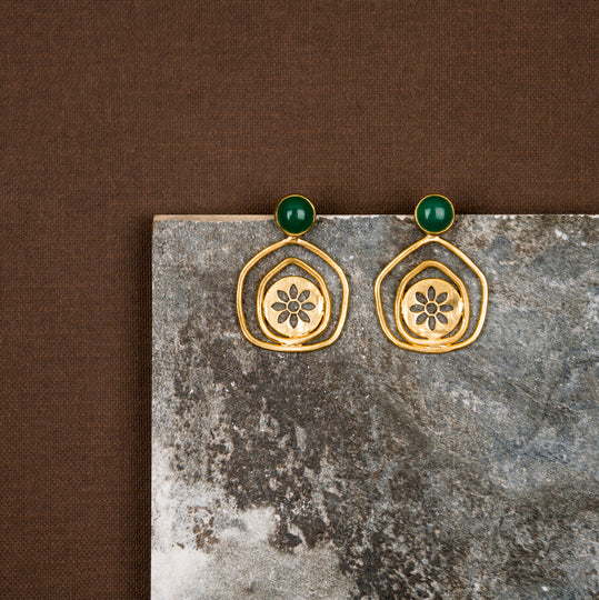 jewelry - berserk - Gold Plated Jade Pentagon Studs