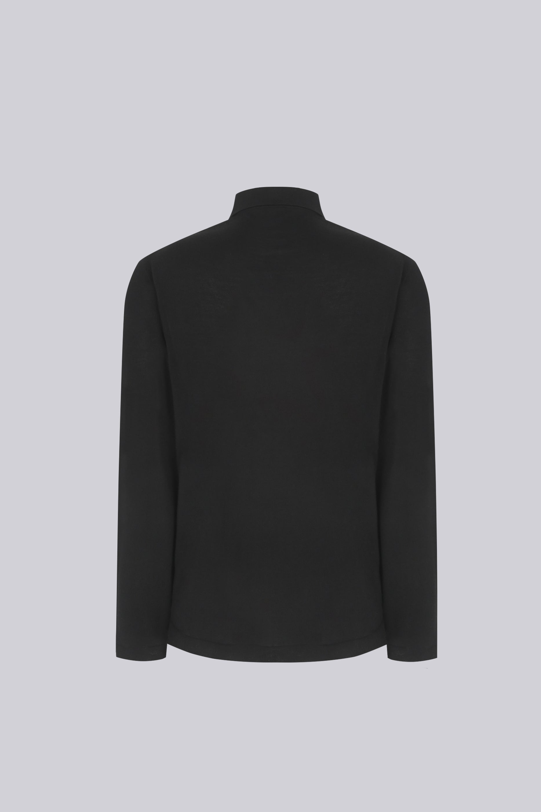 Long sleeve knitted shirt in cotton - black