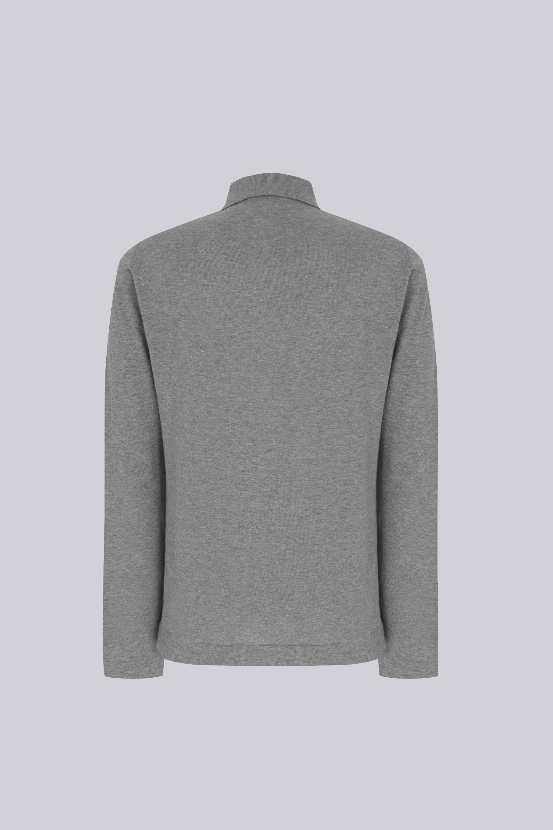 Long sleeve knitted shirt in cotton - grey