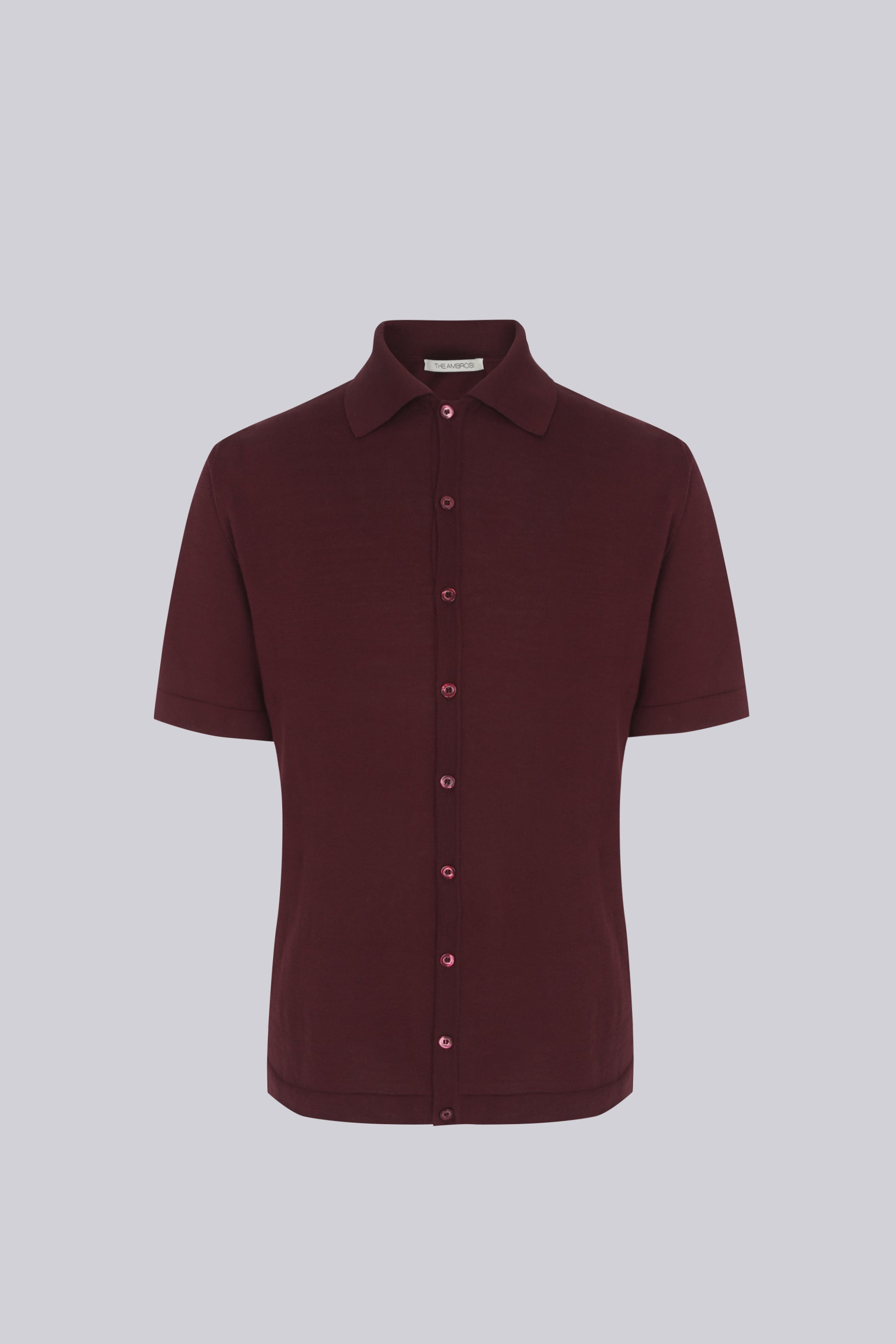 Short sleeve knitted shirt in cotton - burgundy