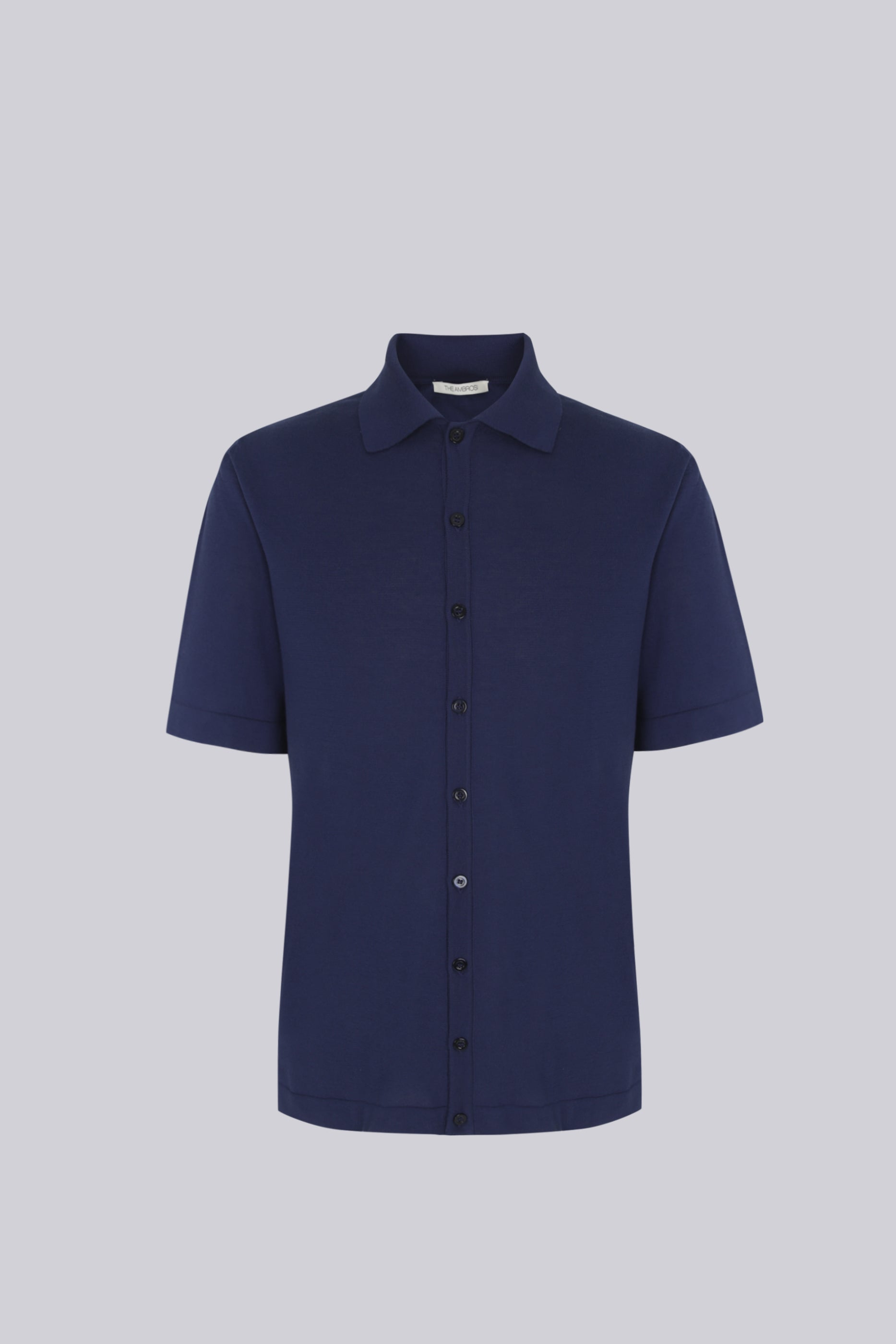 Short sleeve knitted shirt in cotton - blue