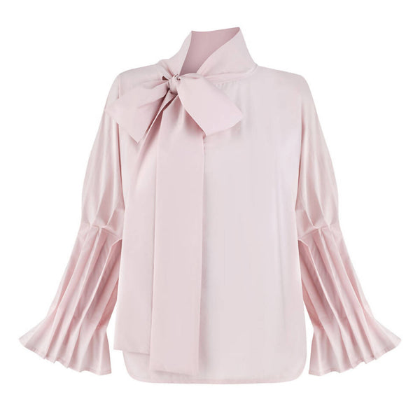 Margaret Pink Ruffle Bow Tie Shirt