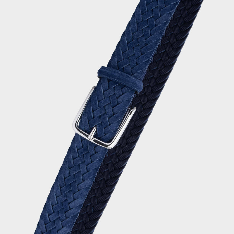 Braided Suede Belt Blue - Emiliano - Space to Show