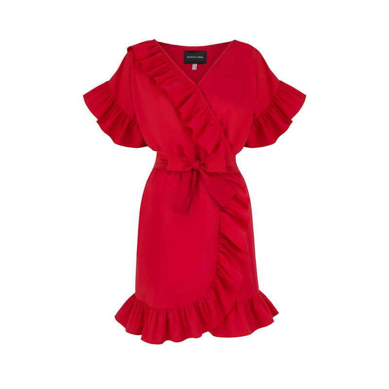 Juliette Red Ruffle Dress - Space to Show