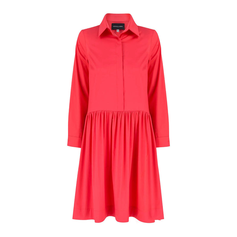 Anne Coral Cotton Shirt Dress - Space to Show