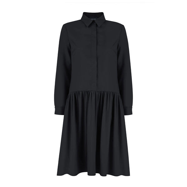 Anne Black Cotton Shirt Dress - Space to Show