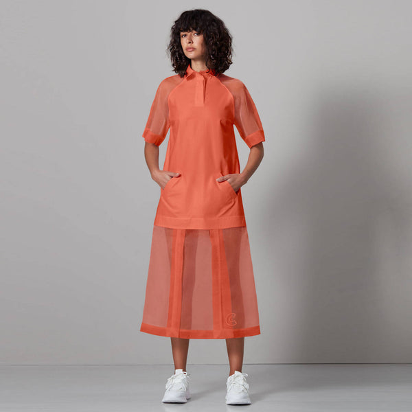 Sheer Panels Shirt Dress - Space to Show