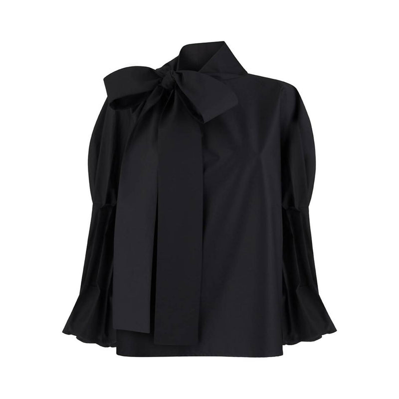 Margaret Black Ruffle Bow Tie Shirt - Space to Show