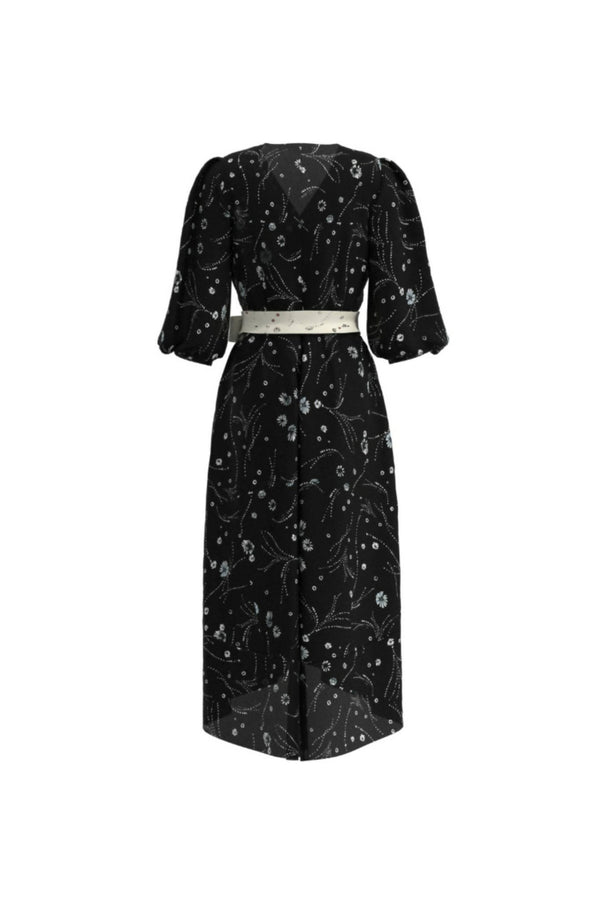 Leilani Black Print Knee Dress - Space to Show