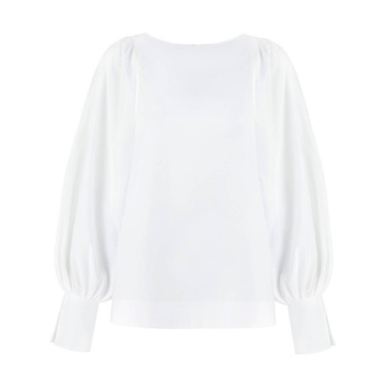 Aida White Cotton Long-Sleeve Blouse - Space to Show
