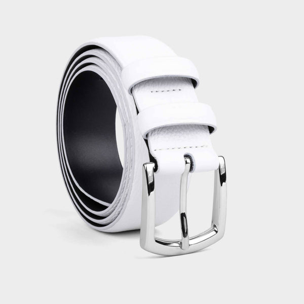 Handmade Leather Belt White - Pierre - Space to Show