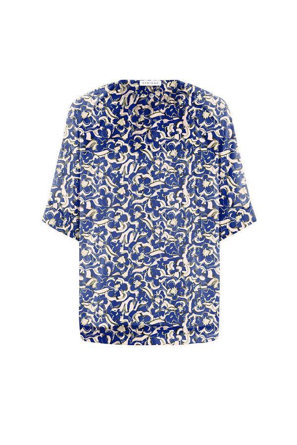 2 in 1 Luna Blouse Blue/Rose Flowers - Space to Show