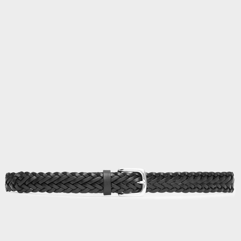 Hand-braided Leather Belt Black - Cesare - Space to Show