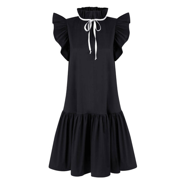 Angela Black Cotton Dress - Space to Show